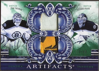 2010/11 Upper Deck Artifacts Tundra Tandems Patches Emerald #TT2BOSG Tim Thomas/Tuukka Rask /40