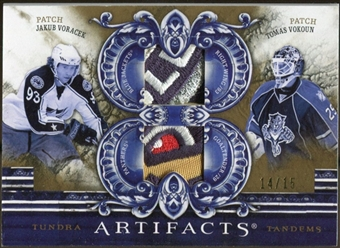 2010/11 Upper Deck Artifacts 2010/11 Tundra Tandems Patches Gold #TT2CZE Tomas Vokoun/Jakub Voracek 14/15