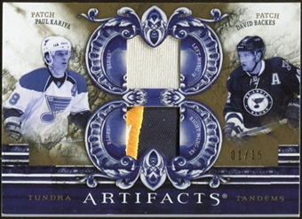 2010/11 Upper Deck Artifacts Tundra Tandems Patches Gold #TT2BLUES David Backes/Paul Kariya 1/15