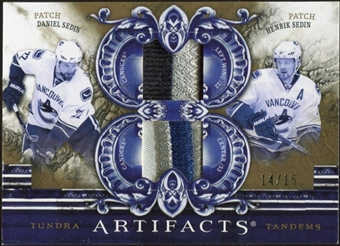 2010/11 Upper Deck Artifacts Tundra Tandems Patches Gold #TT2TWINS Daniel Sedin/Henrik Sedin 14/15