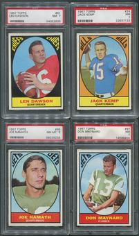 1967 Topps Football Complete Set (NM) With 8 PSA Graded Cards