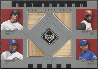2002 Upper Deck Diamond Connection #HGSR Todd Helton, Ken Griffey Jr., Sammy Sosa, & Alex Rodriguez Quad Bat
