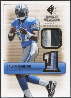 2007 SP Rookie Threads #RTCJ Calvin Johnson Rookie Threads Gold Patch