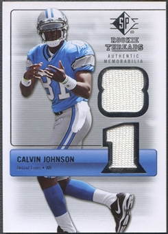 2007 SP Rookie Threads #RTCJ Calvin Johnson Rookie Threads Silver Jersey