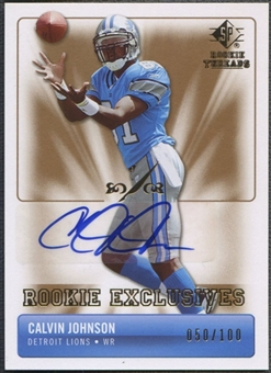 2007 SP Rookie Threads #RECJ Calvin Johnson Rookie Exclusive Auto #050/100