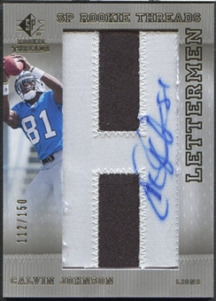 "2007 SP Rookie Threads #144 Calvin Johnson Rookie Letter ""H"" Patch Auto #112/150"