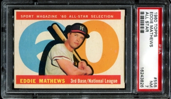1960 Topps Baseball #558 Eddie Mathews All Star PSA 7 (NM) *3826