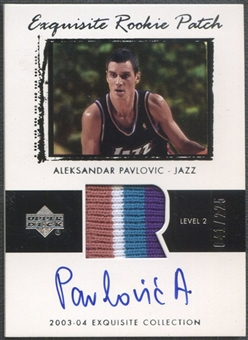 2003/04 Exquisite Collection #63 Aleksandar Pavlovic Rookie Patch Auto #041/225