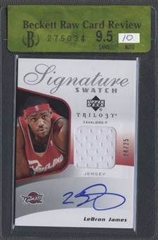 2005/06 Upper Deck Trilogy #LB LeBron James Signature Swatches Jersey Auto #24/25 BGS 9.5 Raw Card Review