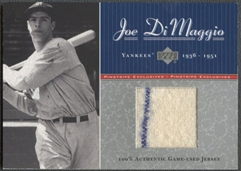2001 Upper Deck #J3 Joe DiMaggio Pinstripe Exclusives DiMaggio Memorabilia Jersey #064/100