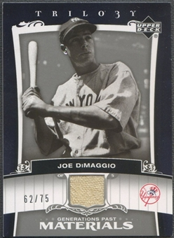 2005 Upper Deck Trilogy #JD Joe DiMaggio Generations Past Materials Silver Jersey #62/75