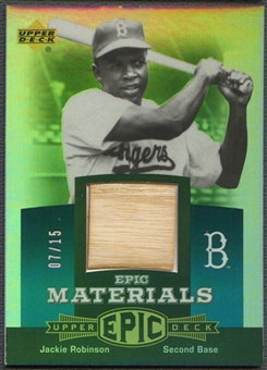 2006 Upper Deck Epic #JR Jackie Robinson Materials Teal Bat #07/15