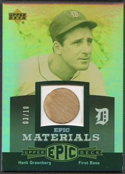 2006 Upper Deck Epic #HG Hank Greenberg Materials Grey Bat #03/10