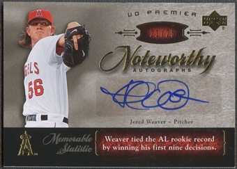 2007 Upper Deck Premier #JW Jered Weaver Noteworthy Gold Auto #21/25