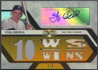 2008 Topps Triple Threads #129 Yogi Berra Relics Gold Jersey Auto #3/9