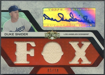 2008 Topps Triple Threads #105 Duke Snider Relics Jersey Auto #05/18