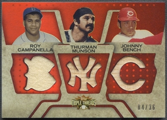 2008 Topps Triple Threads #103 Roy Campanella Thurman Munson Johnny Bench Jersey Bat #04/36