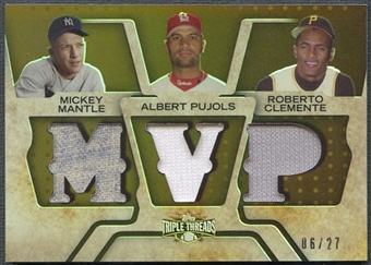 2008 Topps Triple Threads #20 Mickey Mantle, Albert Pujols, & Roberto Clemente Relics Combos Jersey #06/27