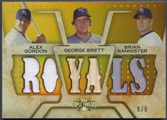 2008 Topps Triple Threads #42 Alex Gordon George Brett Brian Bannister Gold Jersey Bat #9/9