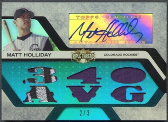 2008 Topps Triple Threads #171 Matt Holliday Relics Sapphire Patch Auto #2/3