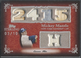 2007 Topps Sterling #CS4 Mickey Mantle Career Stats Relics Five Bat Jersey #03/10