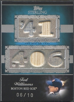 2007 Topps Sterling #CS37 Ted Williams Career Stats Relics Five Bat Jersey #06/10
