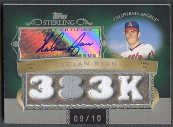 2007 Topps Sterling #CSA96 Nolan Ryan Career Stats Relics Quad Jersey Auto #09/10
