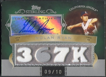 2007 Topps Sterling #CSA97 Nolan Ryan Career Stats Relics Quad Jersey Auto #09/10