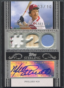 2007 Topps Sterling #SSA133 Mike Schmidt Stardom Relics Triple Bat Jersey Auto #03/10