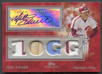 2008 Topps Sterling #4SSA100 Mike Schmidt Stardom Relics Quad Bat Jersey Auto #09/10