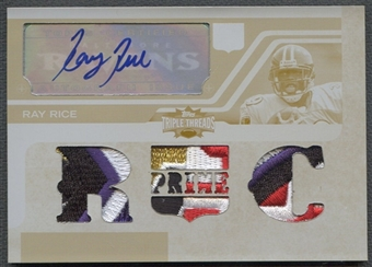 2008 Topps Triple Threads #112 Ray Rice Rookie Yellow Printing Plate Patch Auto #1/1