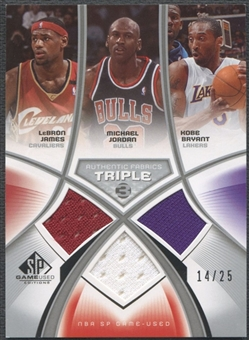 2005/06 SP Game Used #JJB LeBron James, Michael Jordan, & Kobe Bryant Authentic Fabrics Triple Jersey #14/25