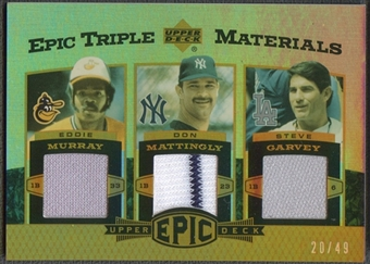 2006 Upper Deck Epic #MMG Eddie Murray, Don Mattingly, & Steve Garvey Triple Materials Jersey #20/49