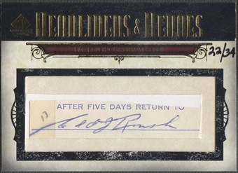 2008 SP Legendary Cuts #ER Edd Roush Headliners and Heroes Cut Auto #22/34