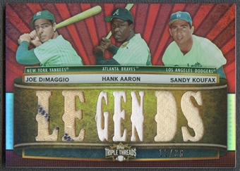 2011 Topps Triple Threads #TTRC60 Joe DiMaggio, Hank Aaron, & Sandy Koufax Jersey #12/36