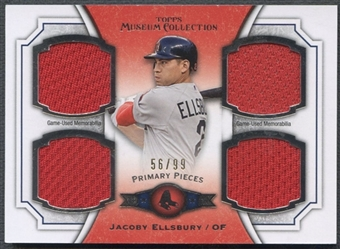 2012 Topps Museum Collection #JE Jacoby Ellsbury Primary Pieces Quad Jersey #56/99