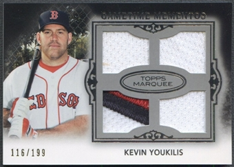2011 Topps Marquee #GMQR11 Kevin Youkilis Gametime Mementos Quad Jersey Patch #116/199