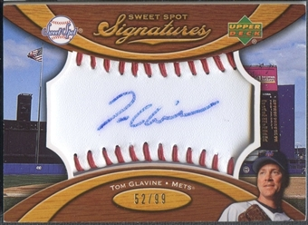 2007 Upper Deck Sweet Spot #TG Tom Glavine Signatures Red Stitch Blue Ink Auto #52/99