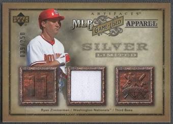 2006 Artifacts #RZ Ryan Zimmerman MLB Game-Used Apparel Silver Limited Jersey #039/250