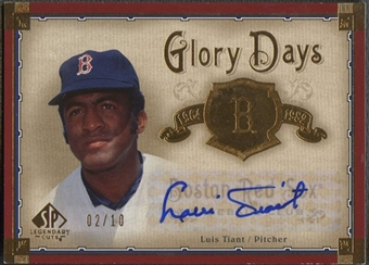 2005 SP Legendary Cuts #LT Luis Tiant Glory Days Gold Auto #02/10