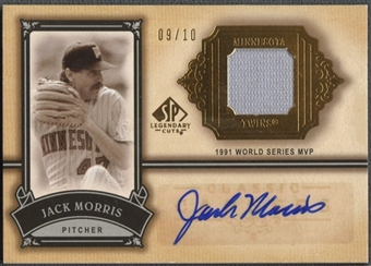 2005 SP Legendary Cuts #JM Jack Morris Classic Careers Material Gold Jersey Auto #09/10