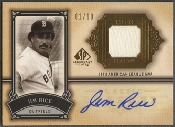 2005 SP Legendary Cuts #JR Jim Rice Classic Careers Material Gold Jersey Auto #01/10