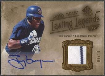 2005 SP Legendary Cuts #TG Tony Gwynn Lasting Legends Material Gold Jersey Auto #03/10