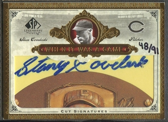 2006 SP Legendary Cuts #SC Stan Coveleski When It Was A Game Cut Auto #48/91