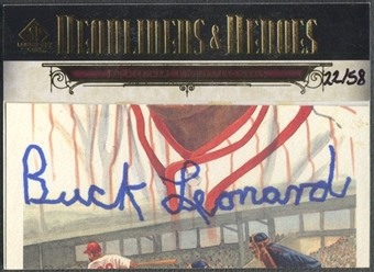 2008 SP Legendary Cuts #BL2 Buck Leonard Headliners and Heroes Cut Signatures Auto #22/58