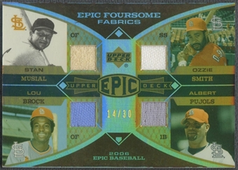 2006 Upper Deck Epic #MBSP Stan Musial, Lou Brock, Ozzie Smith, & Albert Pujols Jersey Foursome Fabrics #14/30