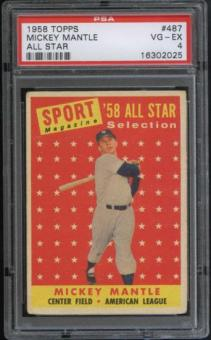 1958 Topps Baseball #487 Mickey Mantle All Star PSA 4 (VG-EX) *2025