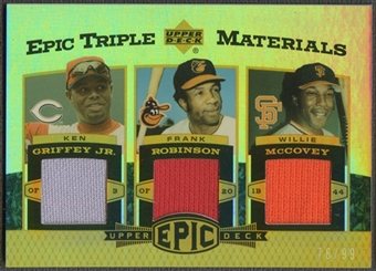 2006 Upper Deck Epic #GRM Ken Griffey Jr., Frank Robinson, & Willie McCovey Triple Materials Jersey #76/99