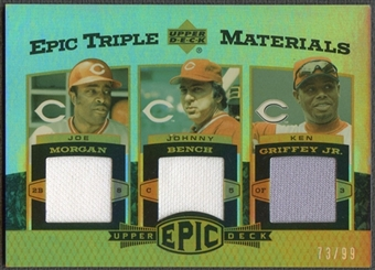 2006 Upper Deck Epic #MBG Joe Morgan, Johnny Bench, & Ken Griffey Jr. Triple Materials Jersey #73/99