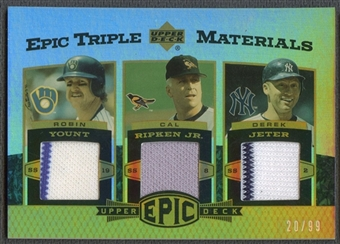 2006 Upper Deck Epic #YRJ Robin Yount, Cal Ripken Jr., & Derek Jeter Triple Materials Jersey #20/99